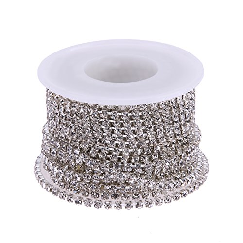 WinnerEco 10 Yards Clear Crystal Rhinestone Bead Strands for Home Party Wedding Decoration (3mm, Silver)