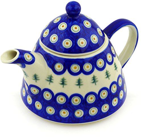 OKSLO Polish pottery 38 oz tea or coffee pot (peacock pines theme) hand painted in bol