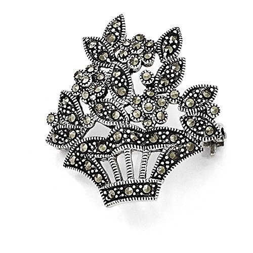 (Jewelry Adviser Tie Pins Sterling Silver Marcasite Flower Pin)