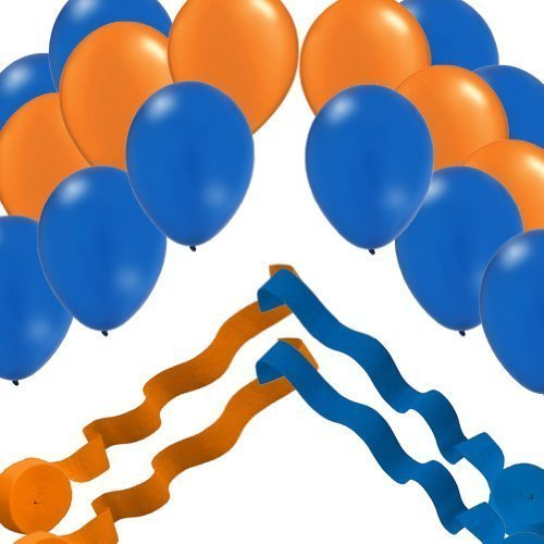 2 Blue & 2 Orange Streamer Rolls and 24 Party Balloons Decorating -