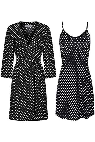 - SofiePJ Women's Printed Chemise and Robe 2 Piece Sleepwear Set Off White Polka Dot M