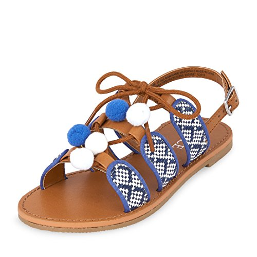 The Children's Place Girls' BG Raffia Pom Sandal, Blue, Youth 6 Youth US Big Kid by The Children's Place (Image #1)