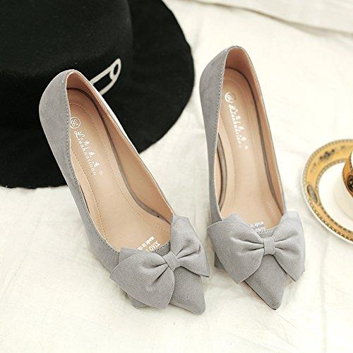 alto raso grigio a tacco pattini bassa donna Tie i Bow con fine con centimetri filtro scarpe versatile 5cm di con scarpe cingolo e del 34 Il 5 HXfgwIqt