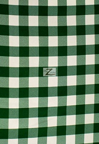 CHECKERED GINGHAM POLY COTTON PRINTED FABRIC - Hunter Green - 57