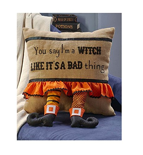 Decorative Halloween Pillow Witch Legs Whimsical Home Decor ()