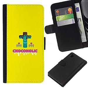 Sony Xperia Z1 L39 C6902 C6903 C6906 C6916 C6943 , la tarjeta de Crédito Slots PU Funda de cuero Monedero caso cubierta de piel ( Chocoholic Sweets Sugar Danger Diet Healthy Food)