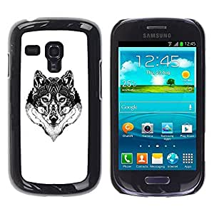 All Phone Most Case / Hard PC Metal piece Shell Slim Cover Protective Case for Samsung Galaxy S3 MINI NOT REGULAR! I8190 I8190N Wolf Black White Drawing Art Eyes