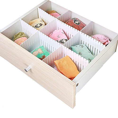 Awebuy DIY Drawer Organizer ,Customized Slotted Plastic Partitions Divider for Home Tidy Closet Stationary Makeup Socks Underwear Scarves (4 Pieces) hot sale