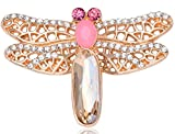 Epinki Children Brooch, Stainless Steel Dragonfly Brooches and Pins Wedding Brooch Rose Gold C
