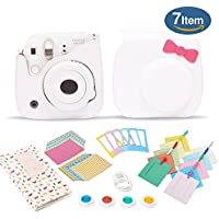 Kamera 7 in 1 Fujifilm Instax Mini 8 9 Accessory Bundle set gift Pack, Kitty White instax mini 8 9 Camera Case with Shoulder Camera Strap and more
