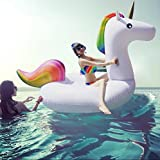 Asamoom ユニコーン浮き輪 浮き輪 強い浮力フロート海 プール 海水浴最適 200x100x90 cm