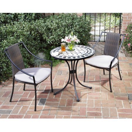 3 Piece Bistro Set with Marble Table and Laguna Dining Chairs, Octagon Marble Tiles Table Top, Powder-Coated Steel Construction, Tie-attachment Taupe Cushions (Grill Table Octagon)