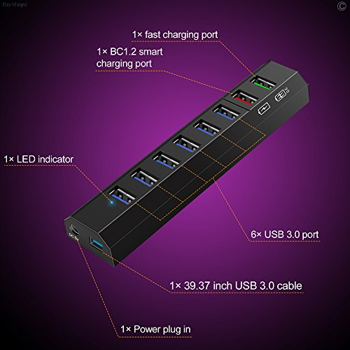 USB Hub 3.0 Power Hub USB Splitter 8 USB Port with BC1.2 USB Fast Charging USB Charger Hub 36W for Ultrabook Laptop PC Phone (Black) by SAN (Image #3)