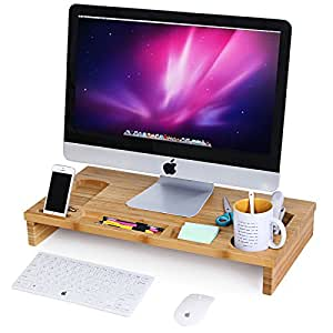 Songmics bamboo monitor stand riser with storage organizer for Organiser un stand