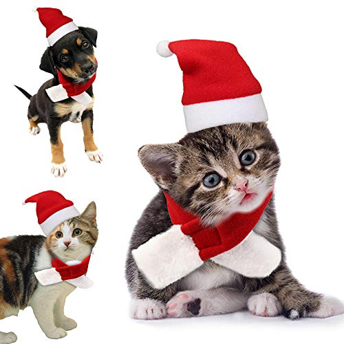Cat Christmas Costume Dog Santa Hat Xmas Outfits with Scarf Gift Clothes for Cute Pet Puppy Kitten Small Cats Dogs