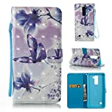 LG Stylus 2 Case, LG G Stylo 2 Case, Lightweight Detachable Wallet Style 3D Painted Slim Case Shockproof Case Folio Flip Magnetic Cover Wallet Credit Card Holder for LG Stylus 2/LS775-Butterfly
