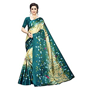 Anni Designer Women's Khadi Silk Printed Saree With Blouse Piece(Free Size)