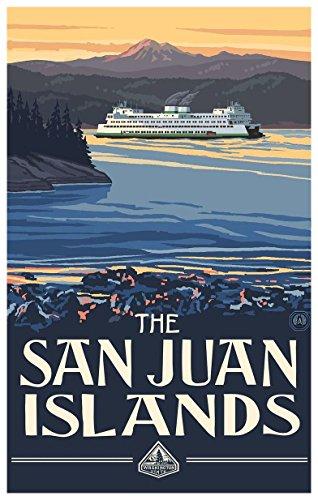 """San Juan Islands Washington Ferry Travel Art Print Poster by Paul A. Lanquist (12"""" x 18"""")"""