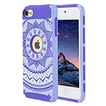 iPod Touch 6 Case,iPod Touch 5 Case, Rosepark [Flowers Pattern] 2-Piece Style Slim Fit Hybrid Hard Armor Case Cover for Apple iPod touch 5 6th Generation(Purple)