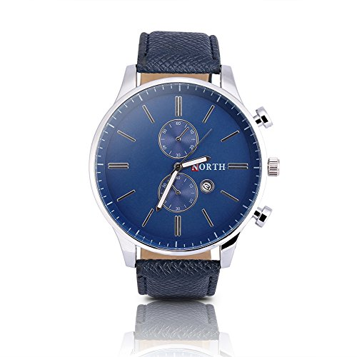 Watches for Men, Fashionable Male Analog Electronic Watch PU Band Alloy Case Round Wristwatch(Blue)