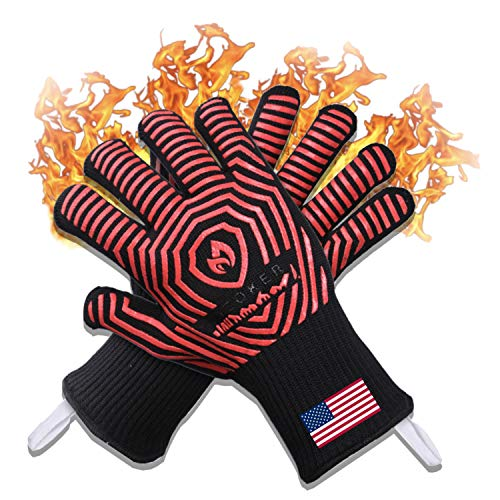 AZOKER BBQ Gloves - USA Made - 932℉ Extreme Heat Resistant EN407 Certified - Silicone Non-Slip Cooking Gloves-Improved Oven Mitts-Oven Gloves for Cooking, Grilling,Smoking,Barbecue, Welding-14 inch