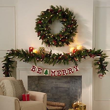 Cordless Pre Lit Cone Berry Christmas Wreath