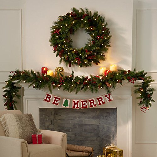 Amazoncom Cordless Pre Lit Cone Berry Christmas Wreath Home