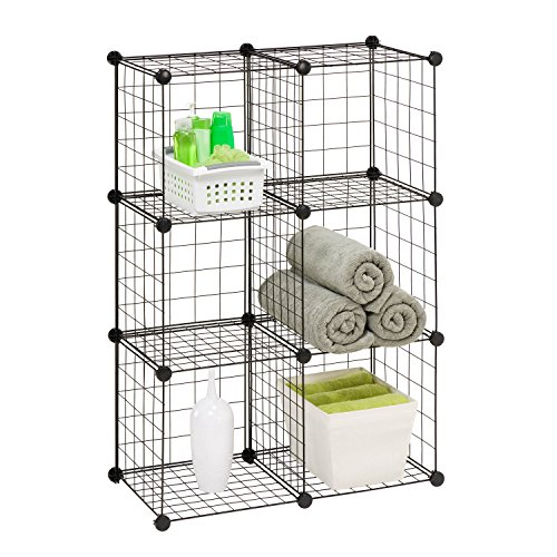 Honey-Can-Do SHF-02113 Modular Mesh Storage Cube, 6-Pack, Black, 43Hx29W by Honey-Can-Do