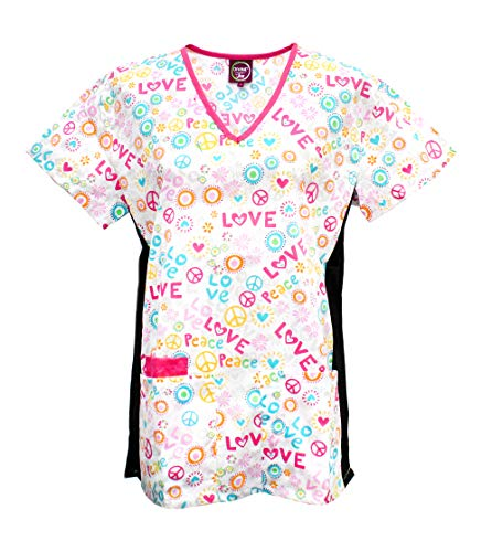 (Divine Scrubs Women's Medical Nursing Stretch Top Patterned Multi Pocket Uniform Shirt (Peace and Love White, Large))