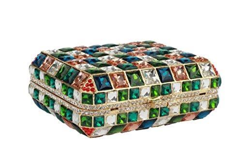 Yilongsheng Carré Ladies Lattice nuptiale embrayage Sacs (Multicolore)