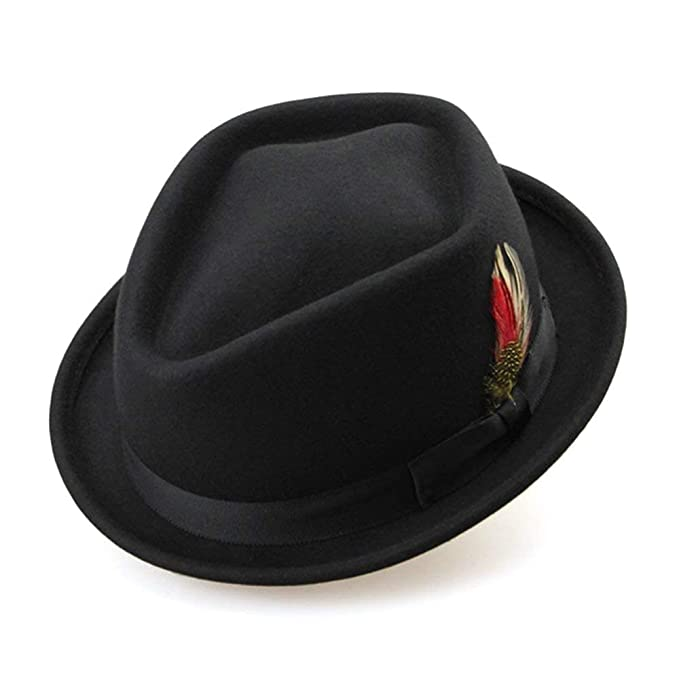 Gorras Sombrero De Fieltro Para Mujer Australia De Ocasional Invierno Con  Plumas (Color  Negro 2c96ec5413b