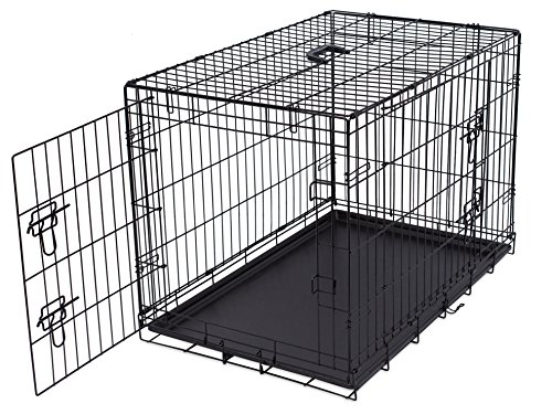 Internet's Best Double Door Steel Crates Collapsible and Foldable Wire Dog Kennel, 36 Inch (Medium), Black by Internet's Best