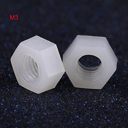 - 100 Pcs M2-M8 Nylon Hex Nut Metric Thread Hexagon Fastener Professional Hardware White(M3)