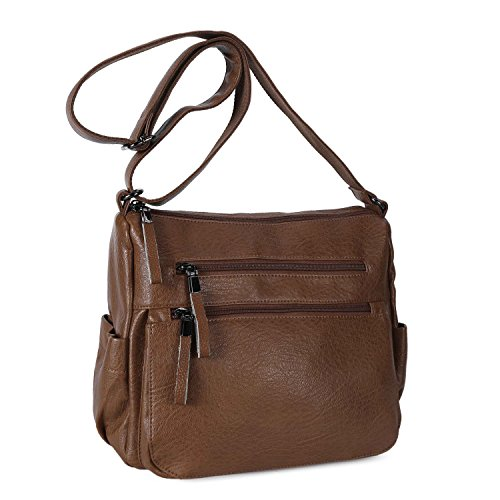 Women Shoulder Bag Soft Leather Crossbody Purse for Ladies Casual Daypack Brown