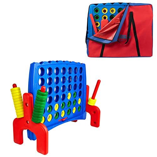 Giant 4 in a Row Connect Game - Storage Carry Bag Included - Nearly 3 Feet Tall Large Indoor and Outdoor Family Party Game for Kids and Adults - Easy Assembly – Durable Weatherproof