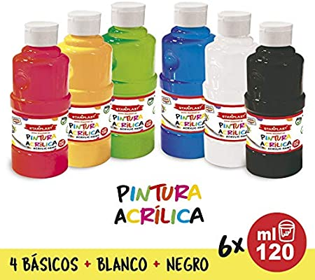 Starplast Pack 6 Pinturas Acrílicas, Pintura Brillante, Lavable ...