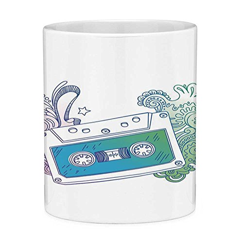 Funny Coffee Mug with Quote Doodle 11 Ounces Funny Coffee Mug Audio Cassette Tape with Line Art Floral Musical Old Fashion Melody Print Decorative Blue Mint Purple