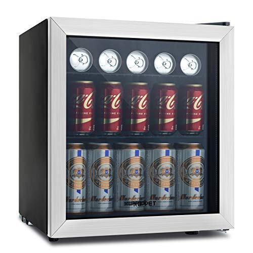 - KUPPET 62-Can Beverage Cooler and Refrigerator, Small Mini Fridge for Home, Office or Bar with Glass Door and Adjustable Removable Shelves, Perfect for Soda Beer or Wine, Stainless Steel, 1.6 Cu.Ft.