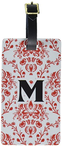 Graphics & More Letter M Initial Damask Elegant Red Black Luggage Tags Id, White