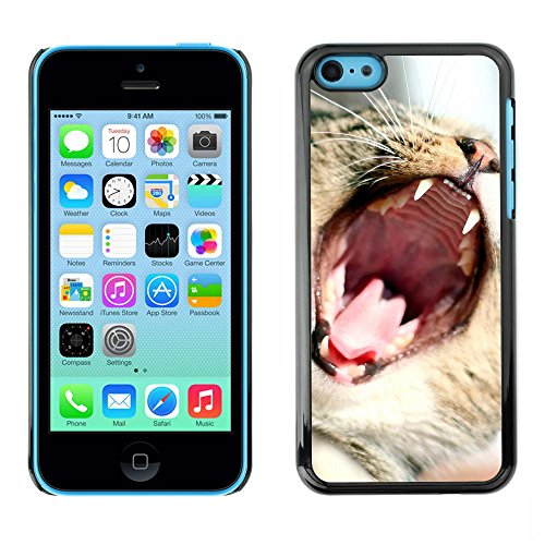 GooooStore/Housse Etui Cas Coque - Cat Roar Yawn Funny Cute Teeth Mouth Whiskers - Apple iPhone 5C