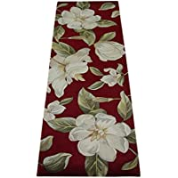 KAS Oriental Rugs Catalina Collection Magnolia Runner, 26 x 8, Red