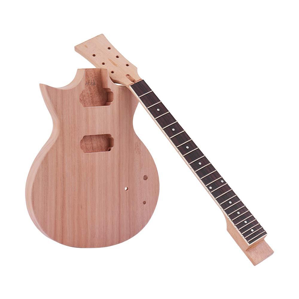 Muslady 未完のDIYエレキギターキット マホガニーボディ&ギターネックローズウッド指板   B07KPD875Y