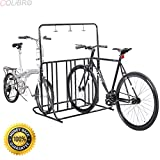 COLIBROX--Bicycle Parking Storage Rack 1-6 Bikes Steel Park Stand 2/3/4/5 Black. Durable frame and stable structure Hold 1-6 bicycles Three available hangers for storing bicycle helmets.