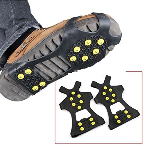 (2 Pieces) Leebei Non-slip shoe cover Ice Snow Grips Over Shoe Boot Traction Cleat Rubber Spikes Anti Slip Mountaineering Non-slip Shoe Cover 10-Stud Slip-on Stretch Footwear (Yellow, Large) by Leebei (Image #6)