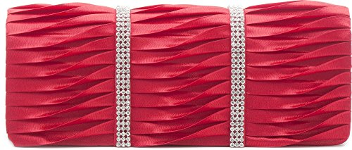 VINCENT PEREZ, Embrague, Bolsas de noche, Bolsas de hombro, Bolsas axilas, Satén, Recolección, Adorno de brillantina, 24x9.5x4.5 cm (An x Al x pr), Color: plata Rojo (Koralle)