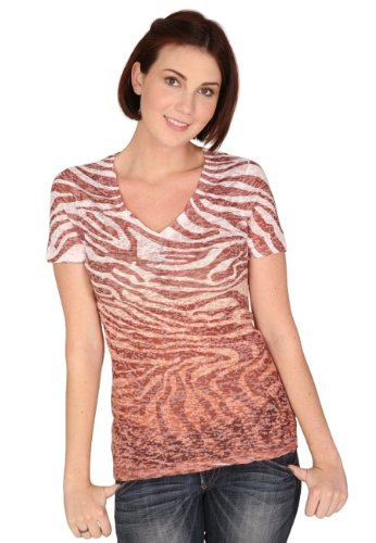 Burnout Zebra - Kavio Women Burnout Zebra Sublimation V Neck Short Sleeve, Brown, Small