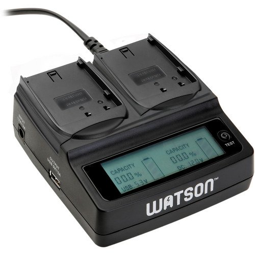 Watson Duo LCD Charger with 2 DMW-BLF19 Battery Plates - Accepts Panasonic DMW-BLF19 Type Battery by Watson