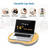 """Lap Desk - Laptop Stand with Cushion & Bamboo Platform on Bed & Sofa, as Book Stand/Sleeping Pillow/Knee Desk with Cable Hole & Anti-Slip Strip, Fit up to 14"""" Laptop, Tablet by HUANUO"""