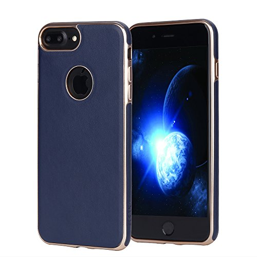 iPhone 7 Plus Case iphone 8 Plus case JOGUO (5.5inch) Blue Leather Coated Matte Gold Plating TPU Case Built-in Metal Plate for Magnetic Car Phone Mount + Clear Tempered Glass Screen Protector kit