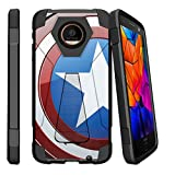 MINITURTLE Case Compatible w/ Motorola Moto Z Force Droid Hybrid Case, Z Force Droid [SHOCK FUSION] Slim Fitted Heavy Duty Stand Defender Case America Shield Hero